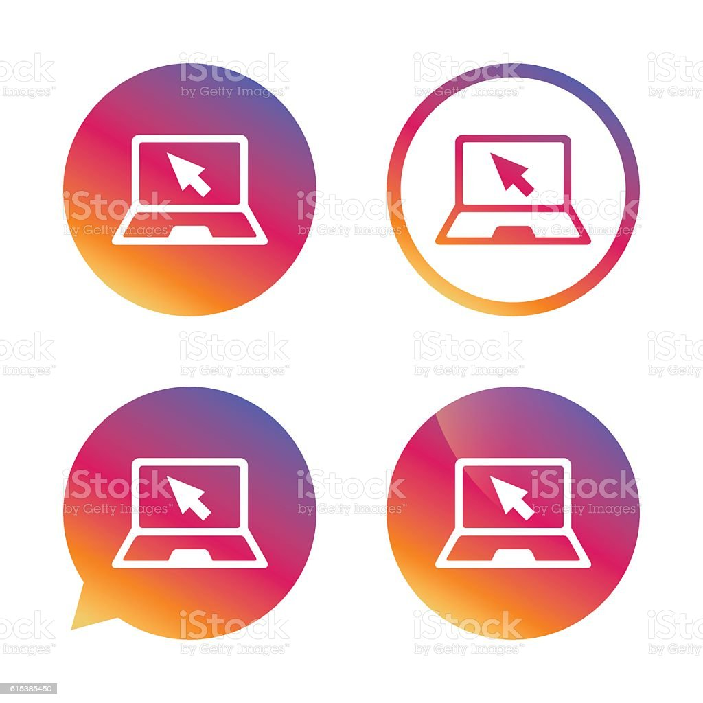 Laptop sign icon. Notebook pc with cursor symbol. vector art illustration