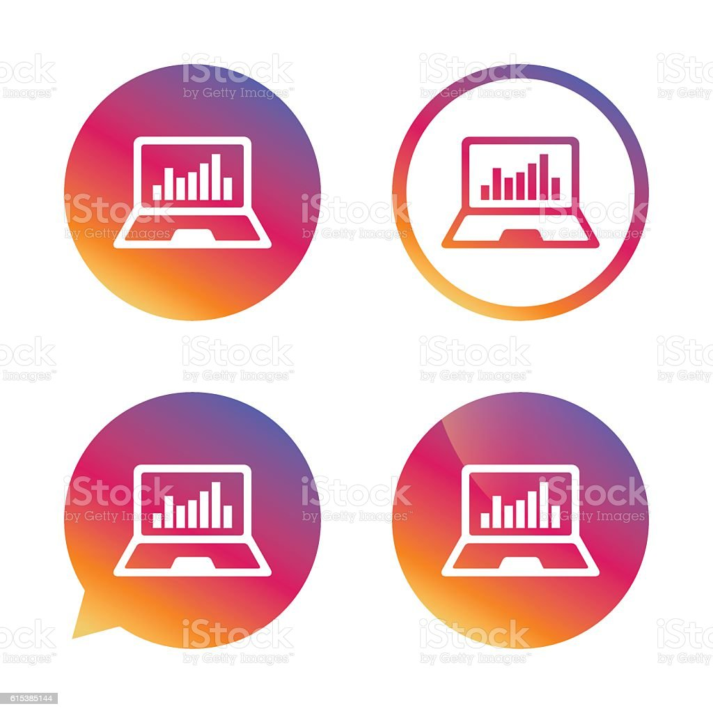 Laptop sign icon. Notebook pc with graph symbol. vector art illustration