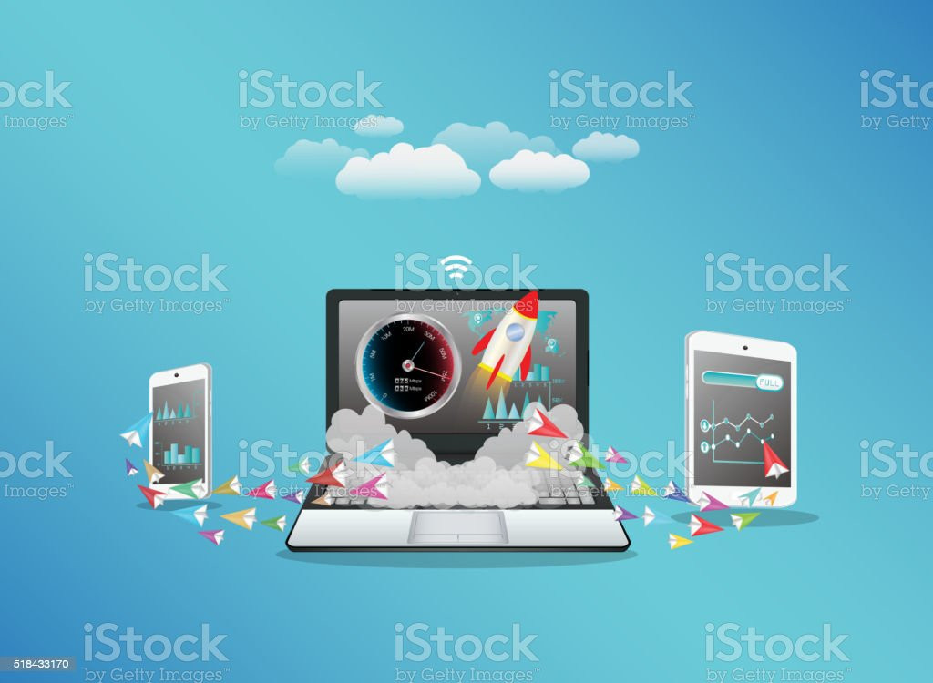 Laptop smart phone and tablet transferring data vector art illustration