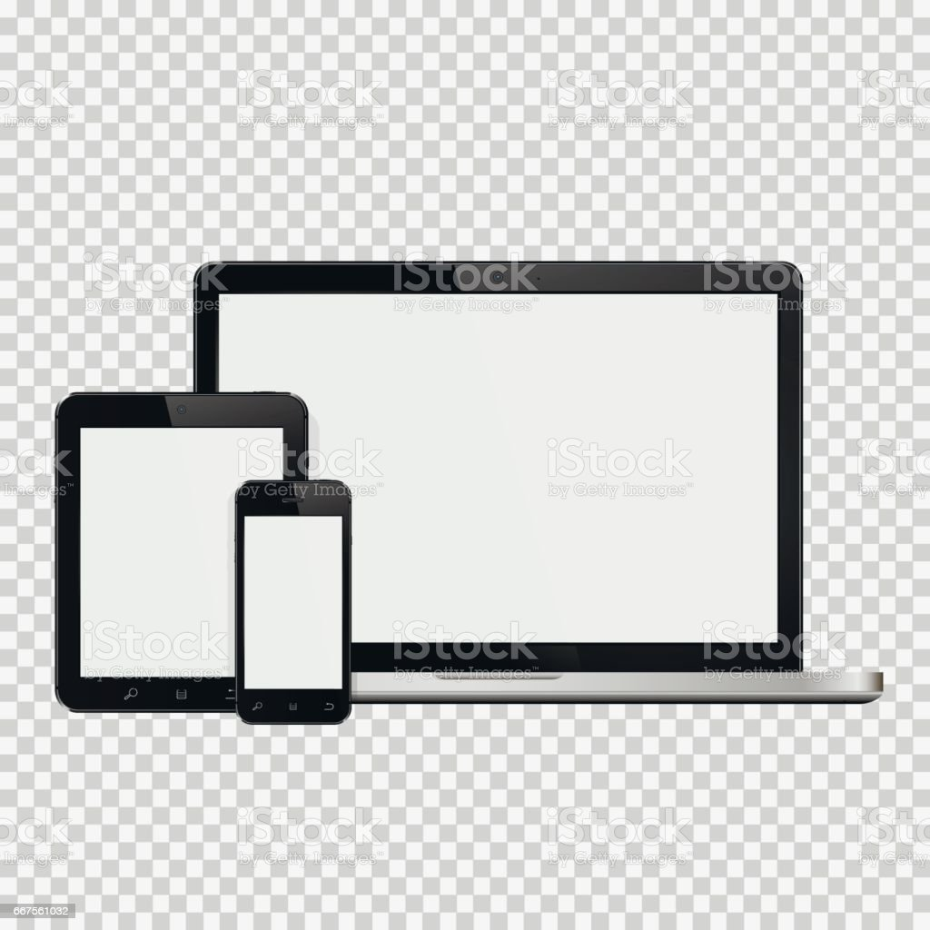Laptop, smartphone and tablet mockup vector art illustration