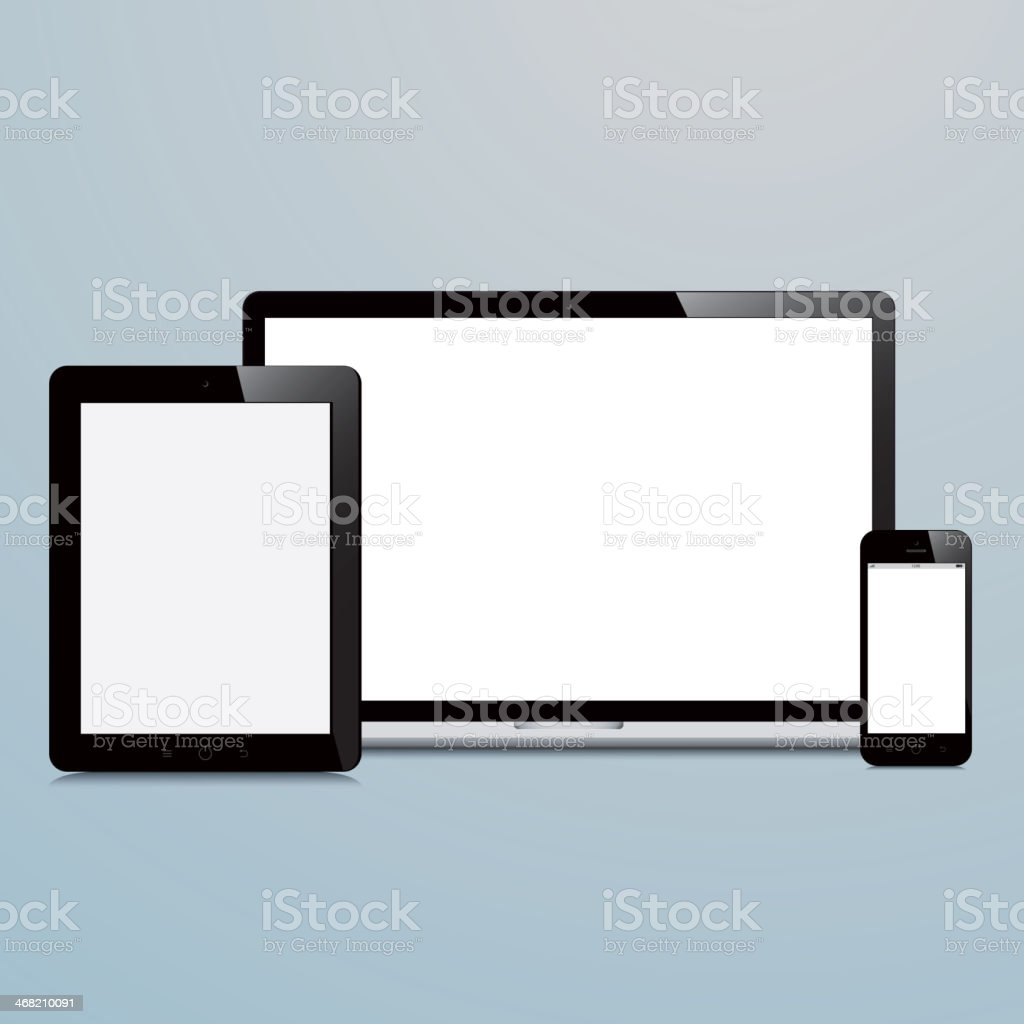 laptop smartphone and tablet on blue background royalty-free stock vector art