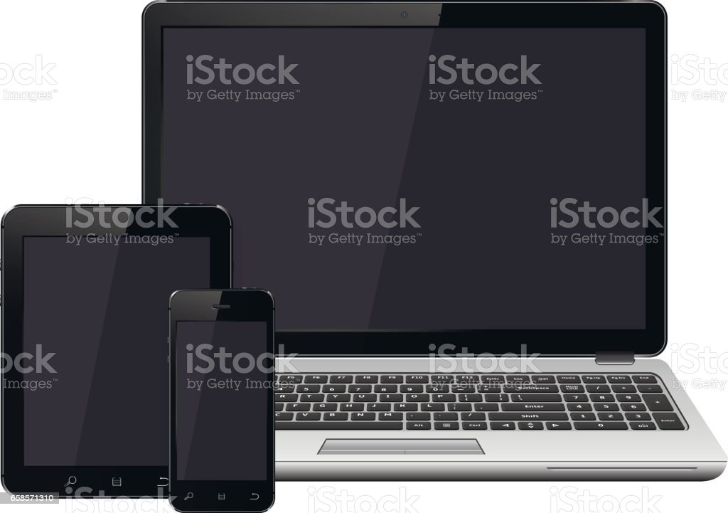 Laptop, smartphone and tablet with blank screen mockup vector art illustration