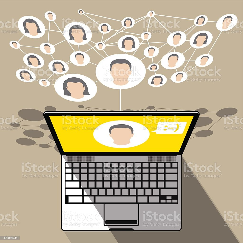 Laptop Social-media connection royalty-free stock vector art