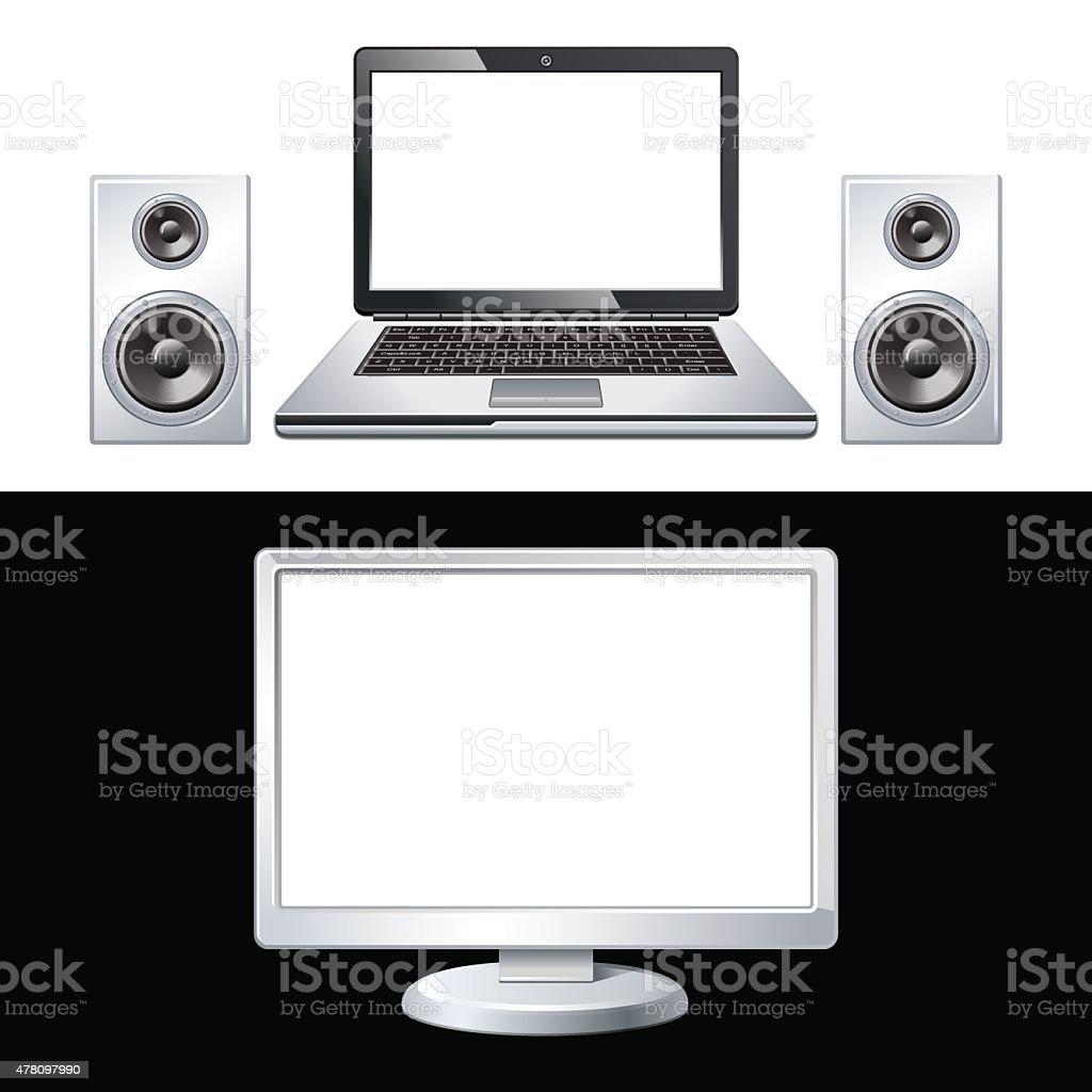 laptop, speaker, computer isolated on white vector art illustration