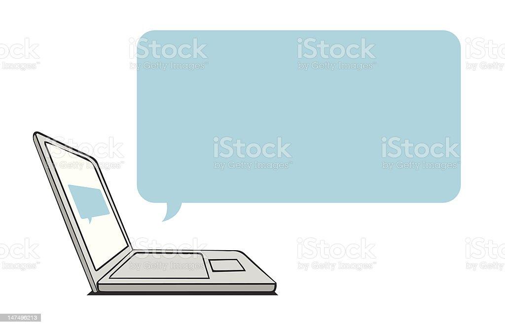 Laptop discurso Bolha vetor e ilustração royalty-free royalty-free