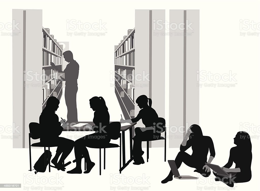 Laptop Studying Vector Silhouette royalty-free stock vector art