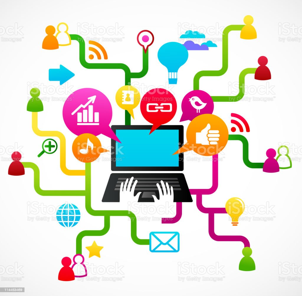 Laptop surrounded by social media icons vector art illustration
