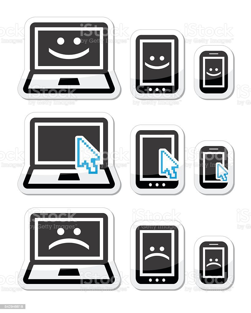 Laptop, tablet and phone with cursor arrow, happy, sad faces vector art illustration