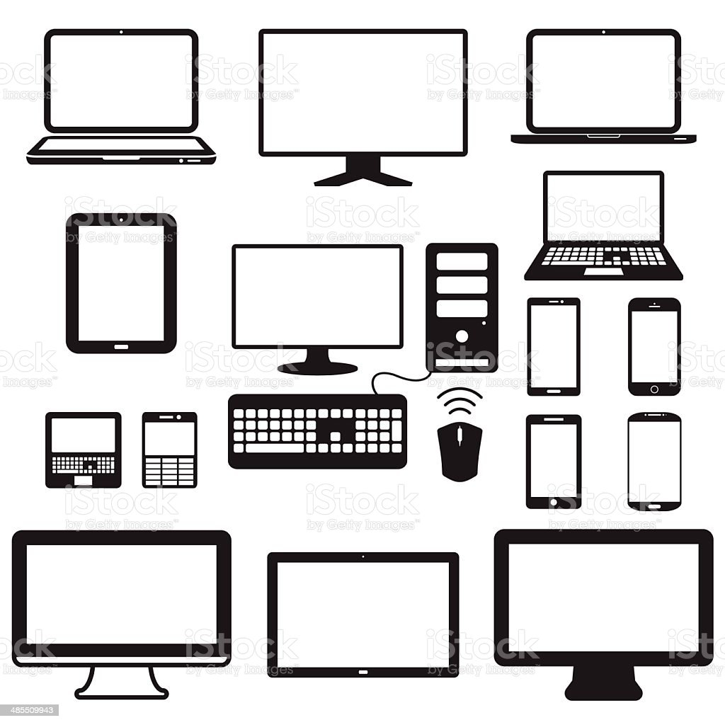 laptop, tablet computer, monitor and mobile screen vector art illustration