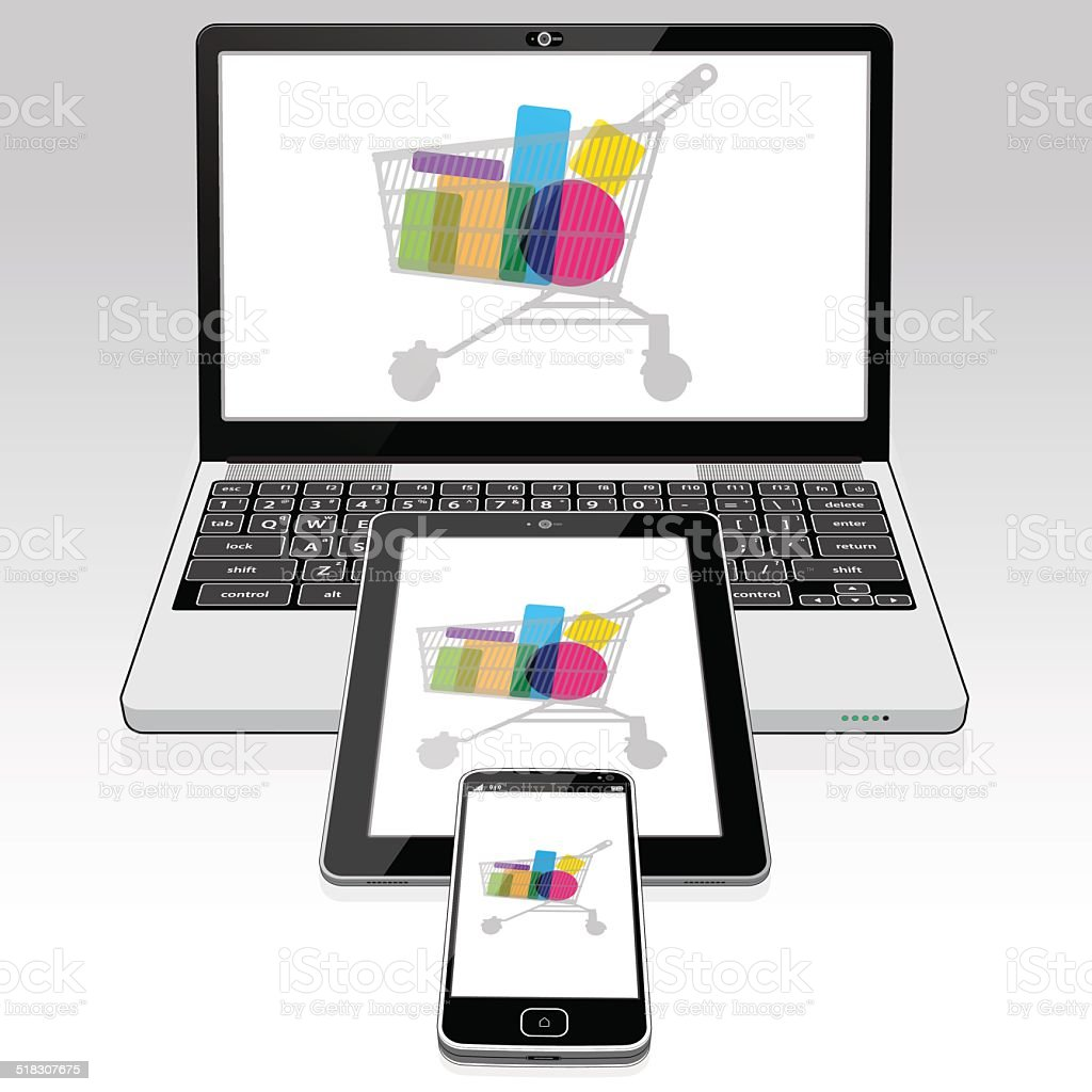 Laptop Tablet Mobile online shopping vector art illustration