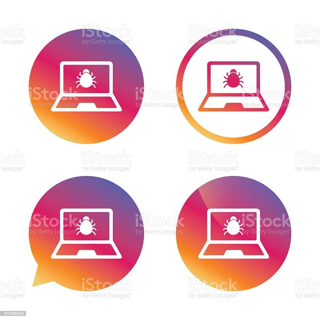 Laptop virus sign icon. Notebook software bug. vector art illustration