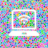 Laptop Wi-Fi Icon on Color Circle Background Pattern