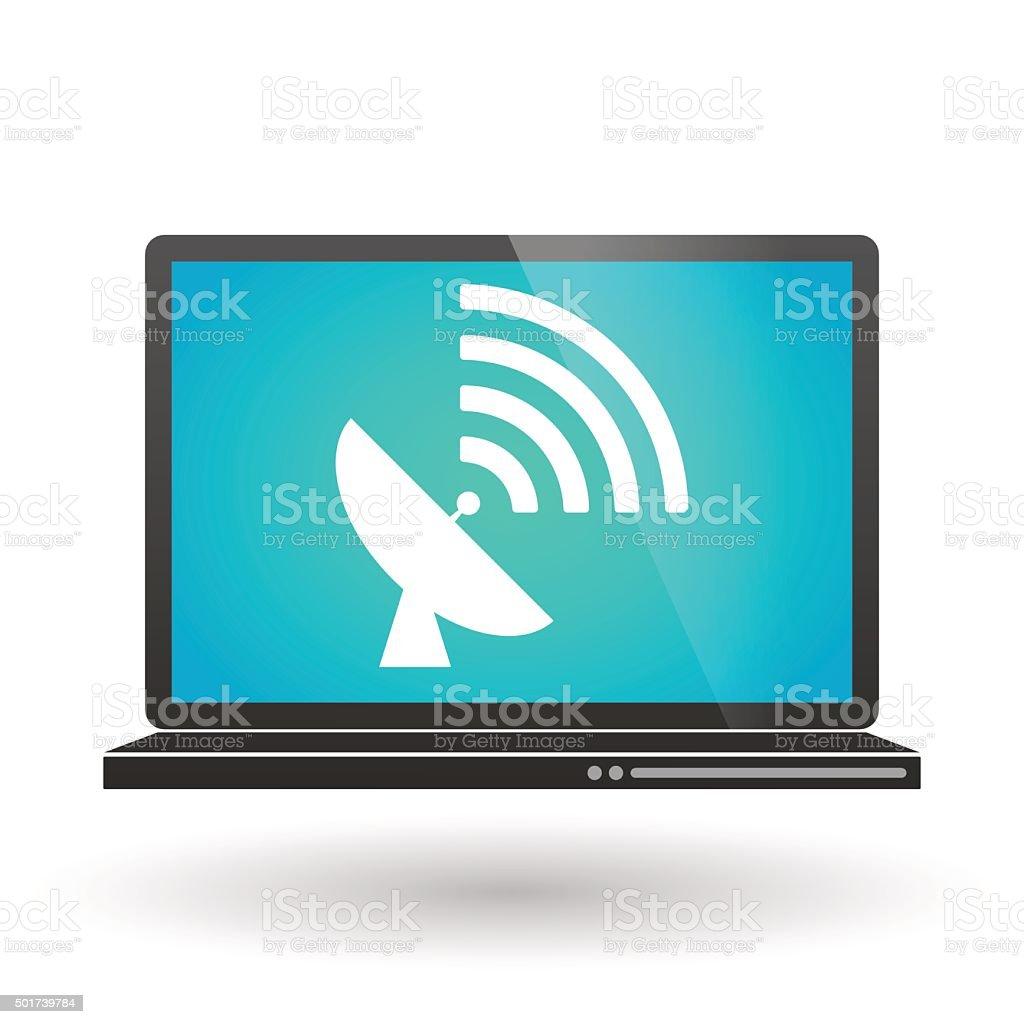 Laptop with an antenna vector art illustration