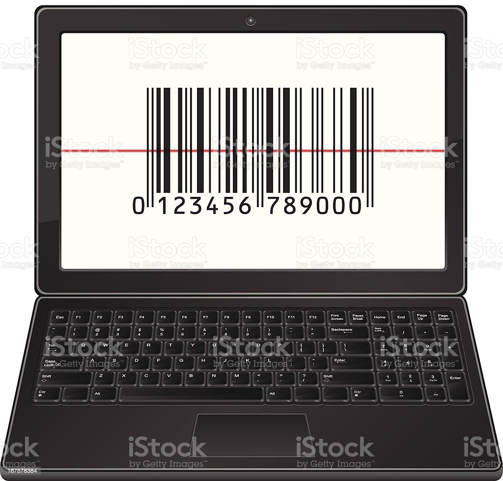 laptop with bar code royalty-free stock vector art