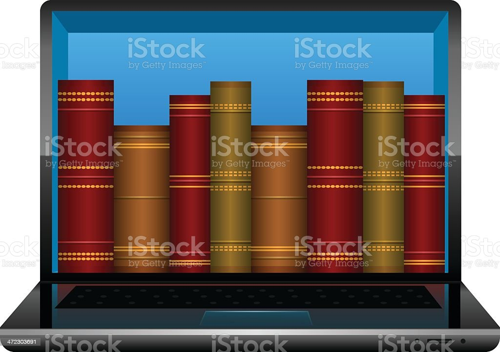 Laptop with books royalty-free stock vector art