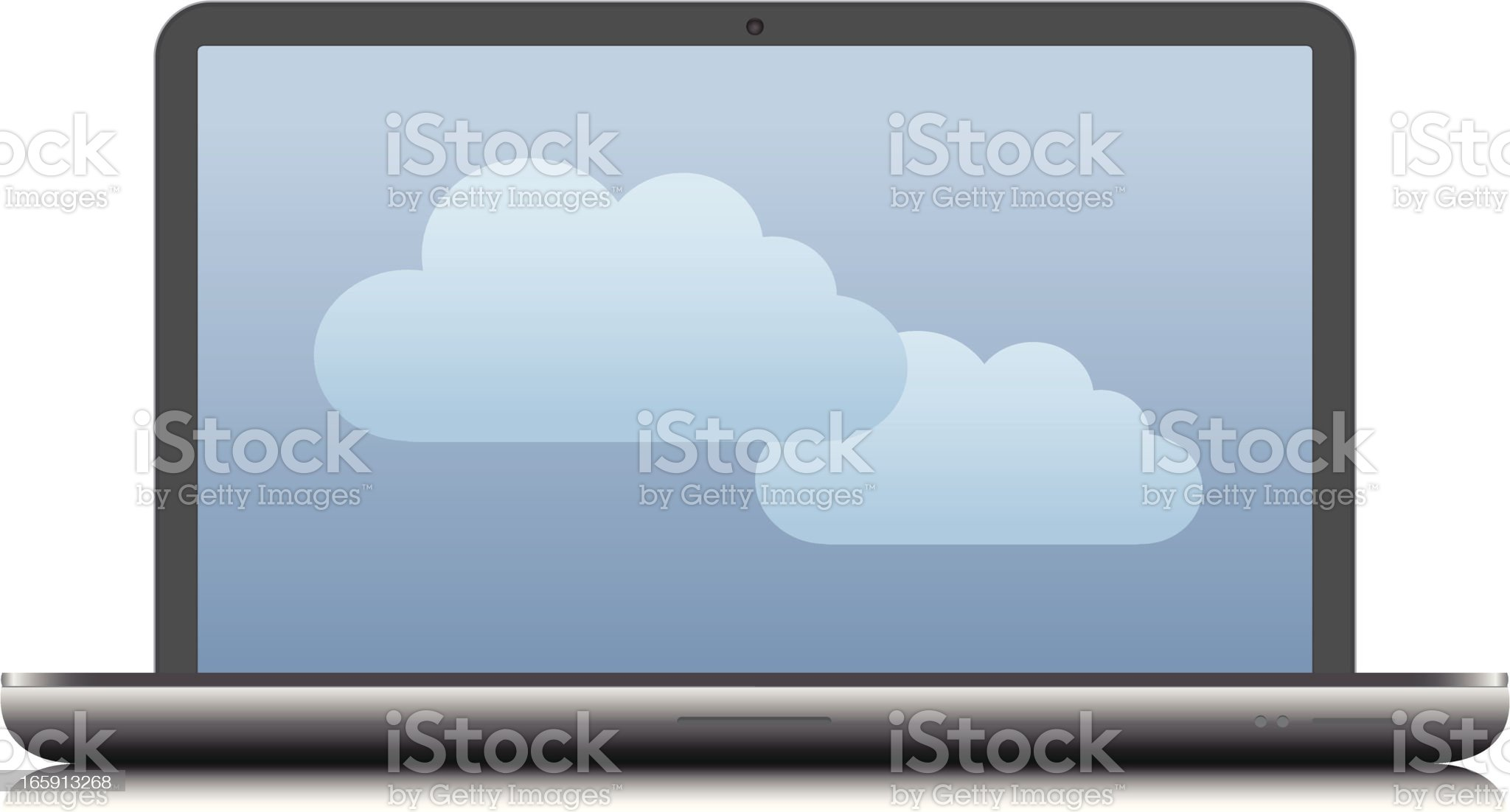 Laptop with clouds on the screen royalty-free stock vector art