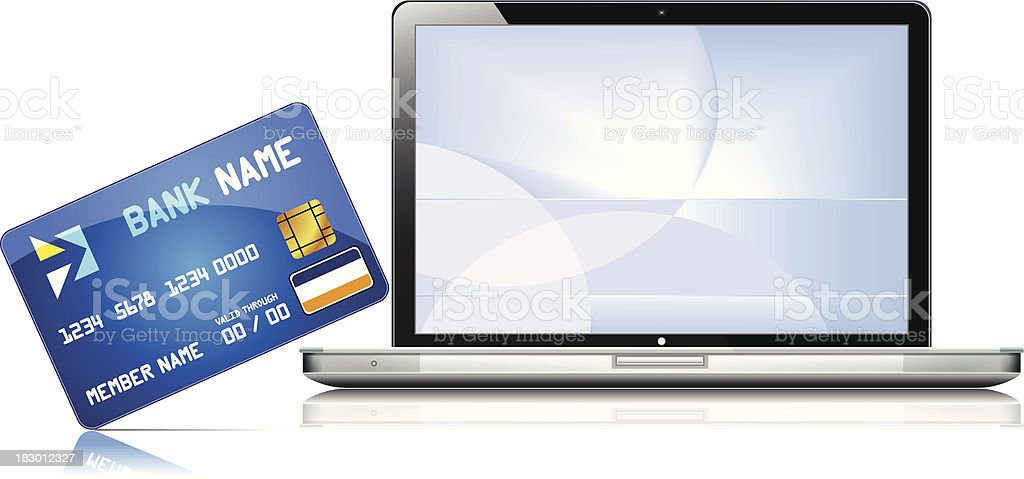 Laptop with credit card - VECTOR vector art illustration