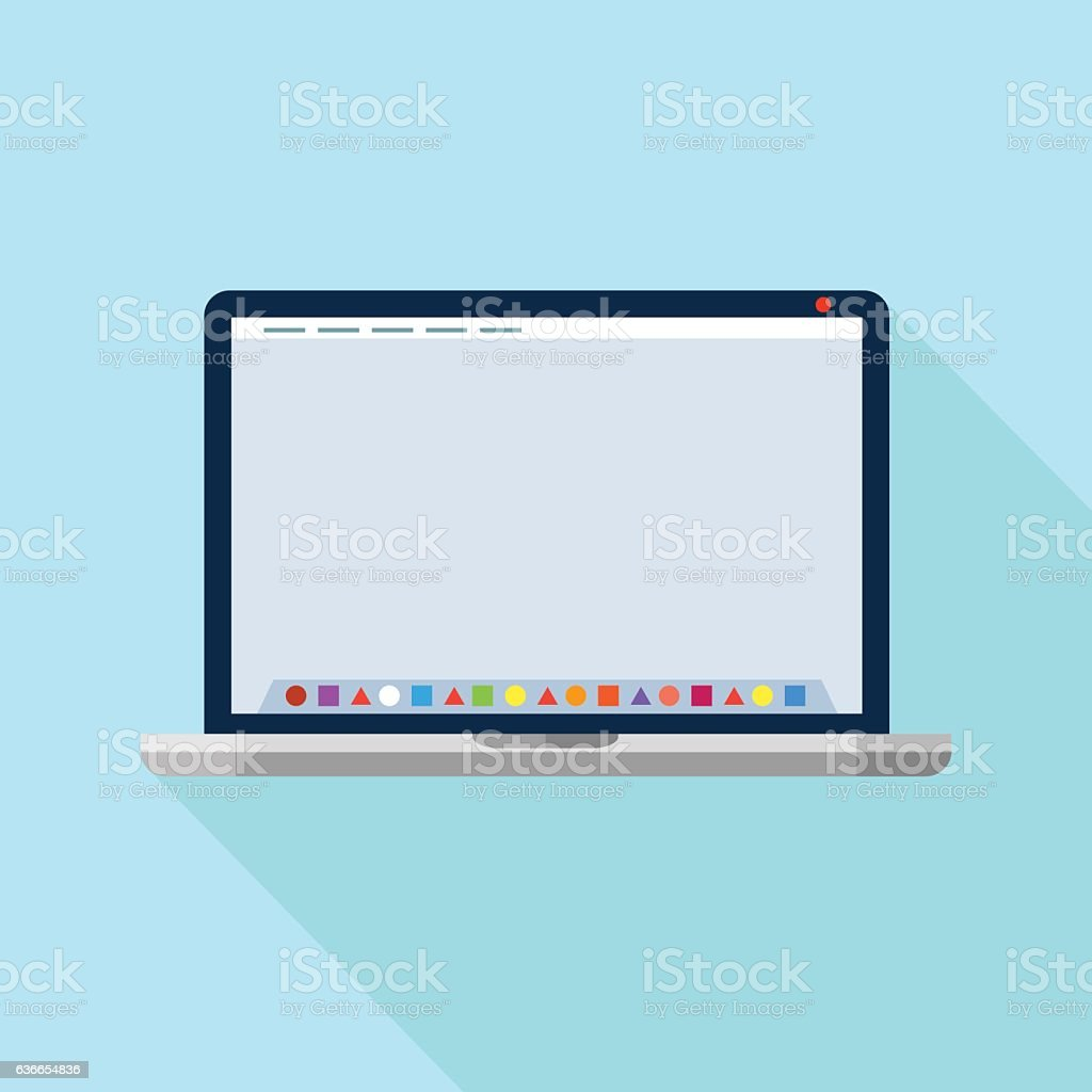 Laptop with dock application launcher. Vector icon vector art illustration