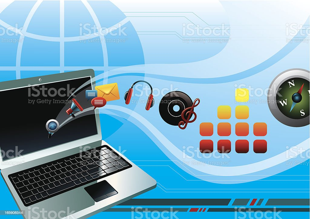 laptop with entertainment royalty-free stock vector art