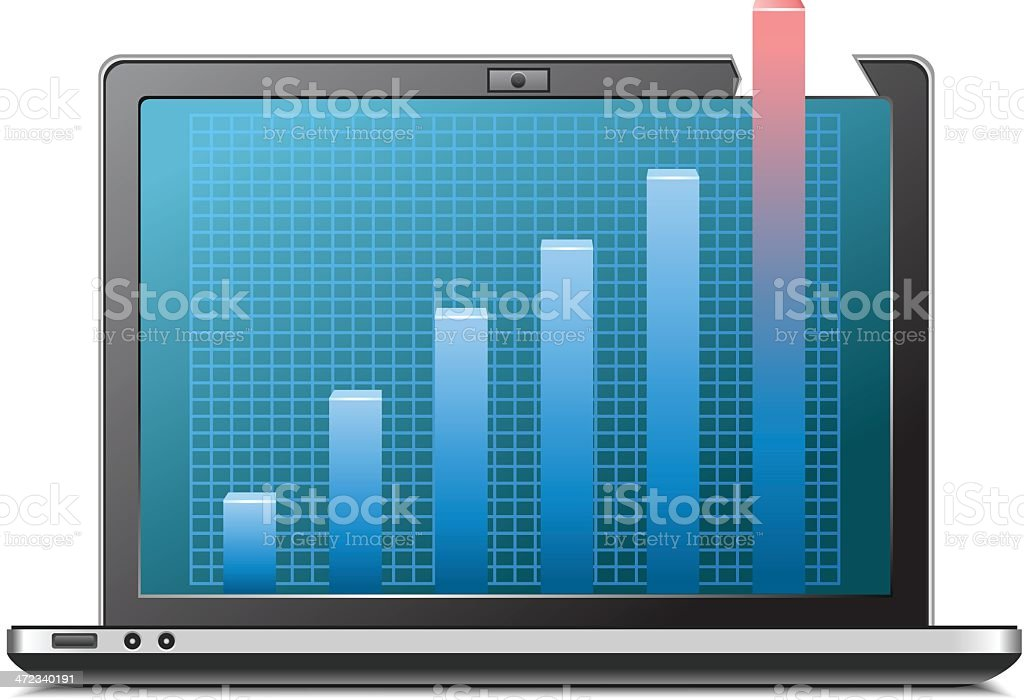 Laptop with graph royalty-free stock vector art