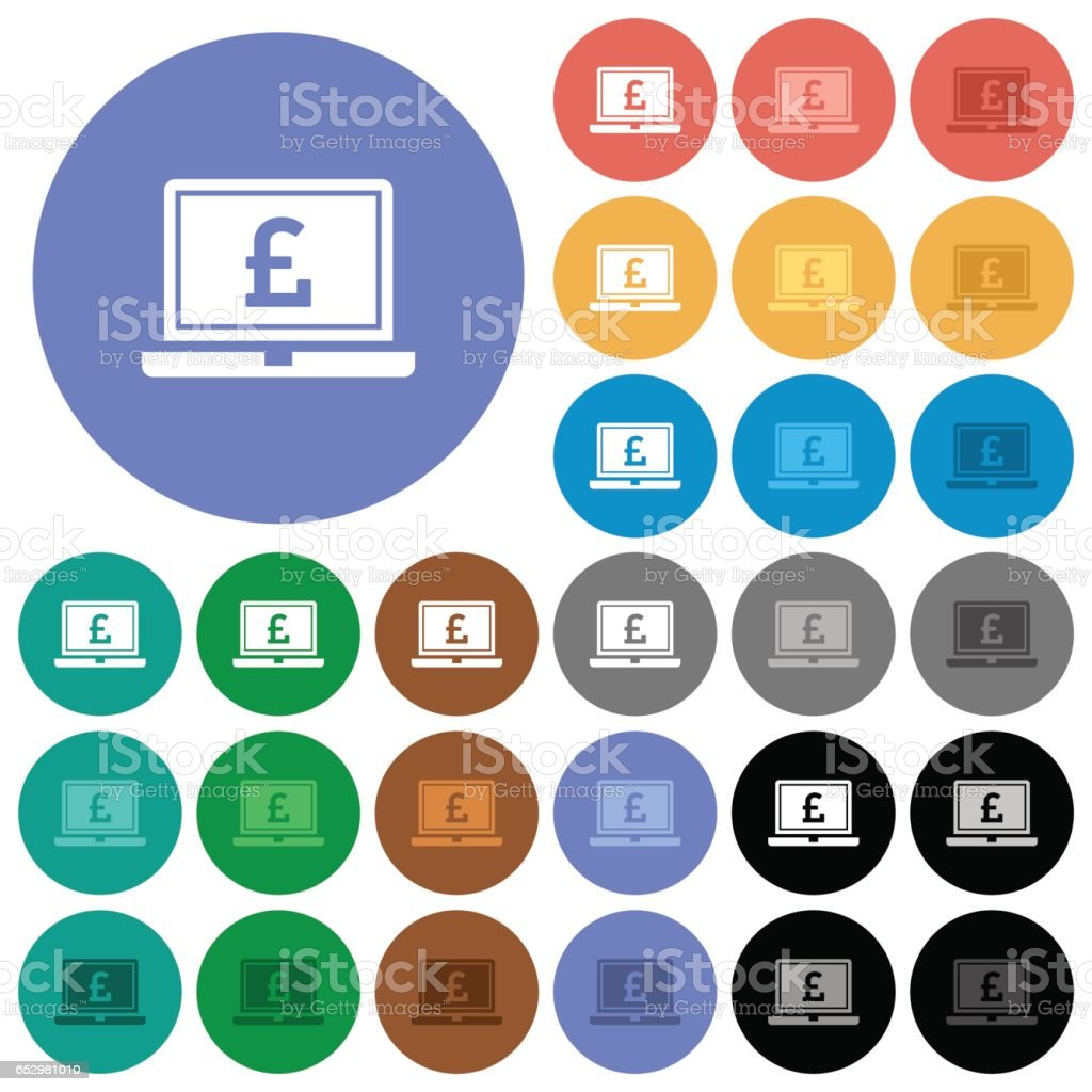 Laptop with Pound sign round flat multi colored icons vector art illustration