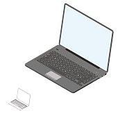 Laptop.3d Vector illustration.3d isometric style.