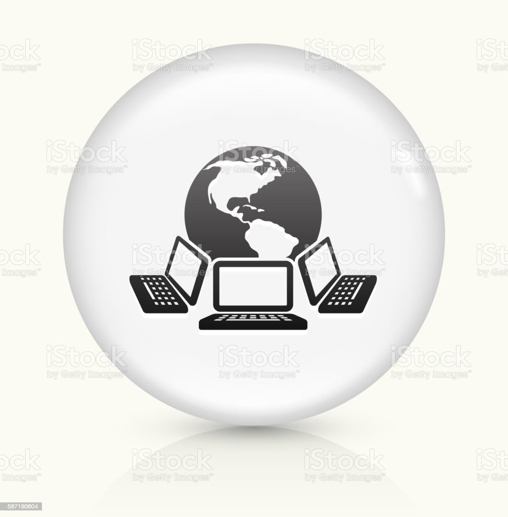 Laptops and Global Network icon on white round vector button vector art illustration