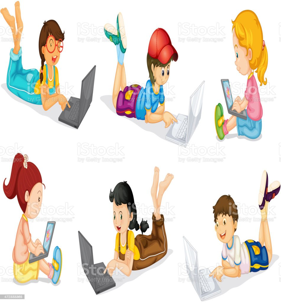 Laptops and Kids royalty-free stock vector art