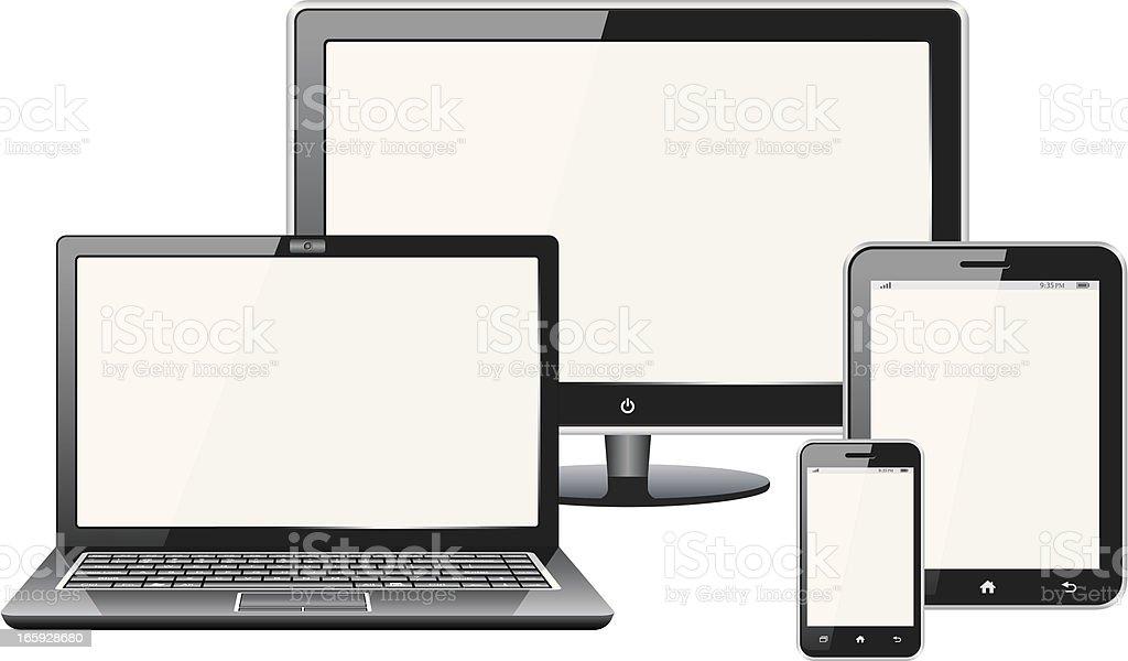 laptop,tablet,mobile phone,tv vector art illustration