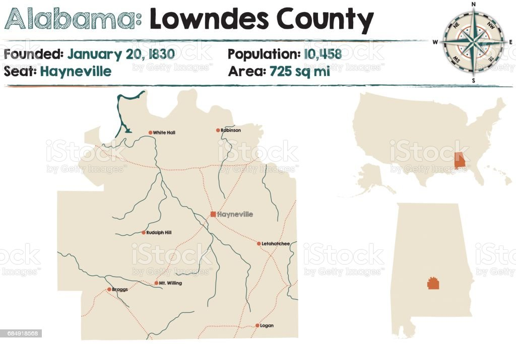 Large and detailed map of Lowndes County in Alabama vector art illustration