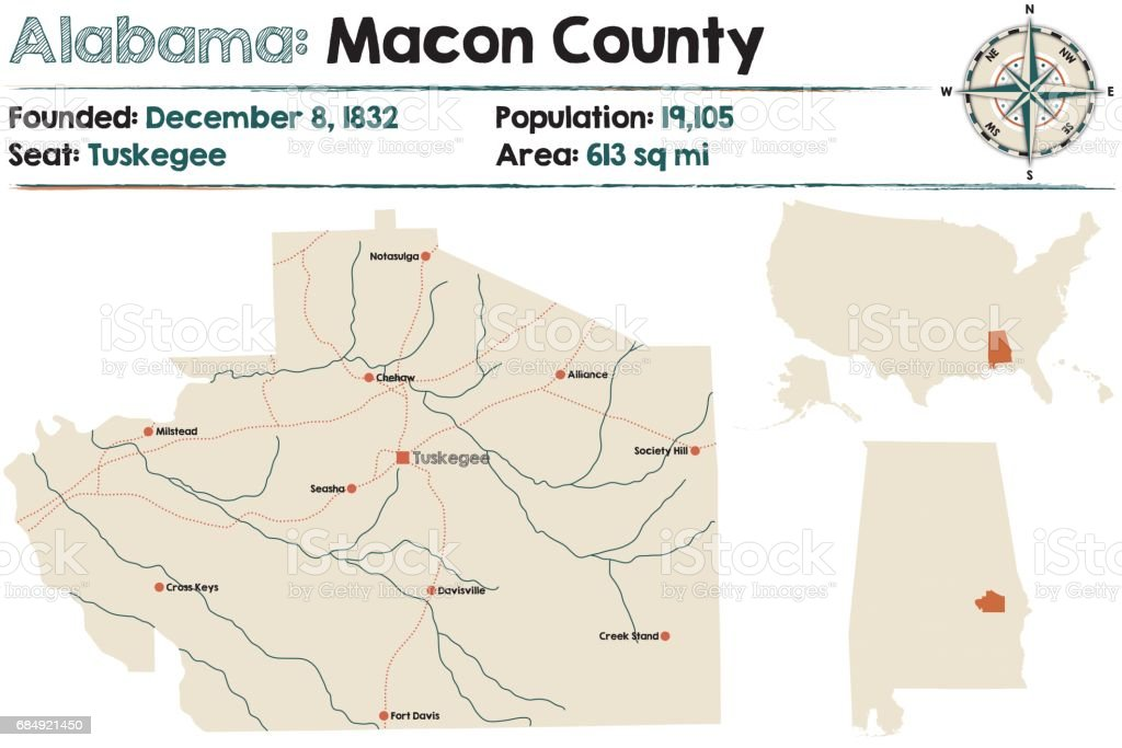 Large and detailed map of Macon County in Alabama vector art illustration