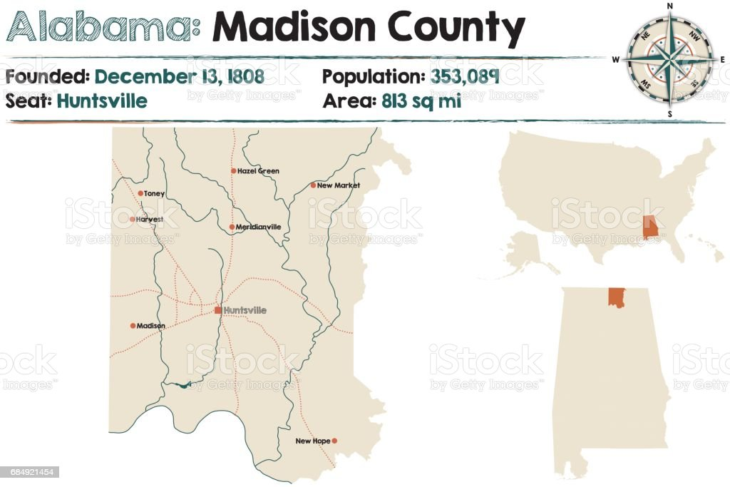Large and detailed map of Madison County in Alabama vector art illustration