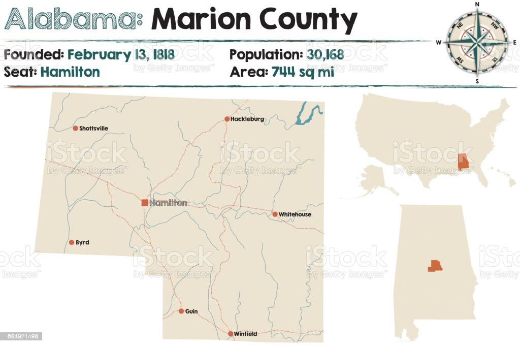 Large and detailed map of Marion County in Alabama vector art illustration