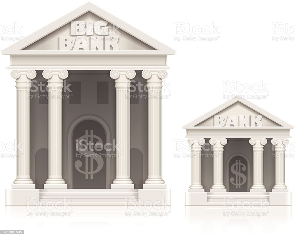 Large and small bank building icons vector art illustration