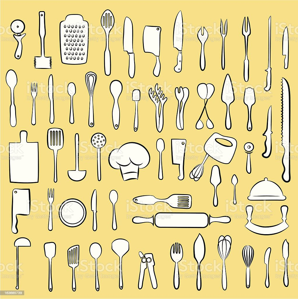 Large array of white kitchen implements on cream background vector art illustration