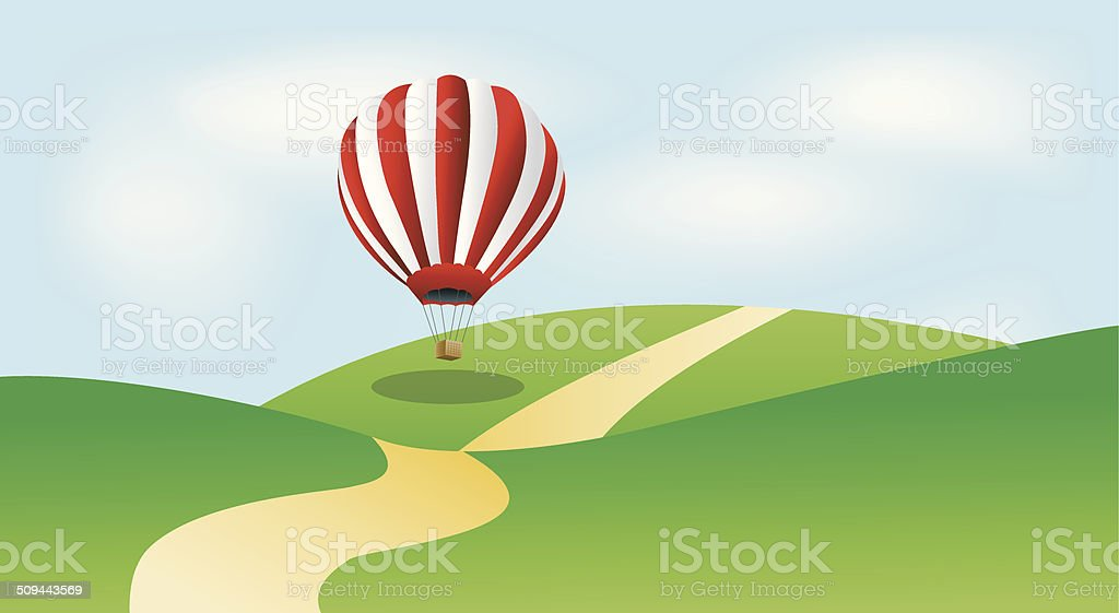 large balloon in blue sky vector art illustration