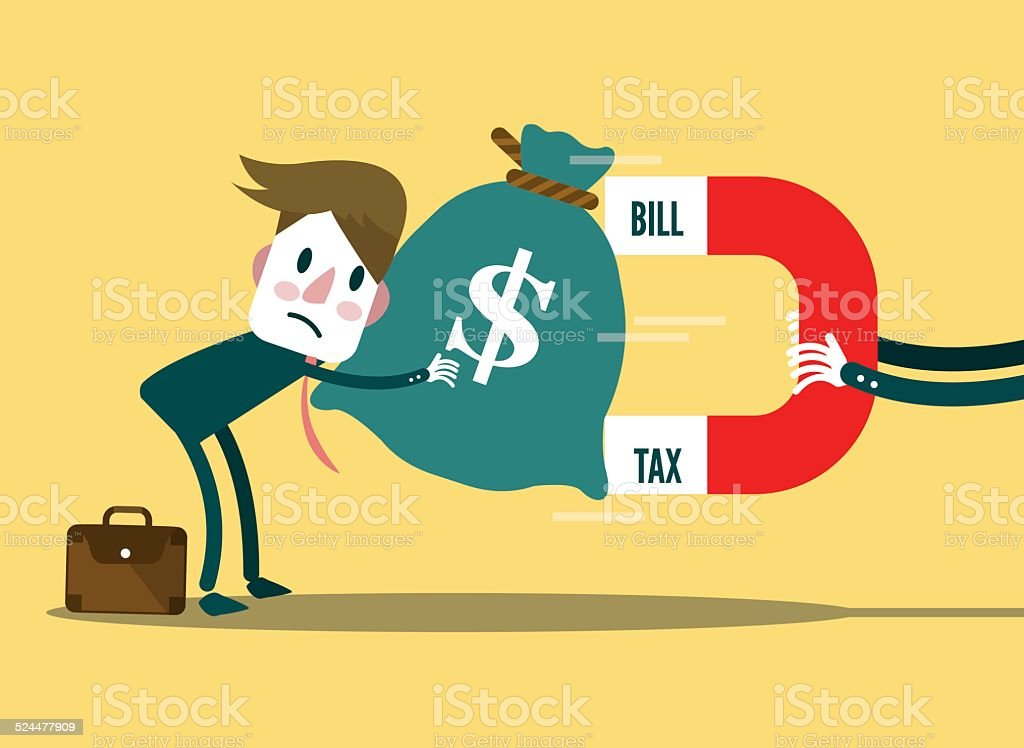Large Bill, Tax magnet attracts businessman's money. vector art illustration