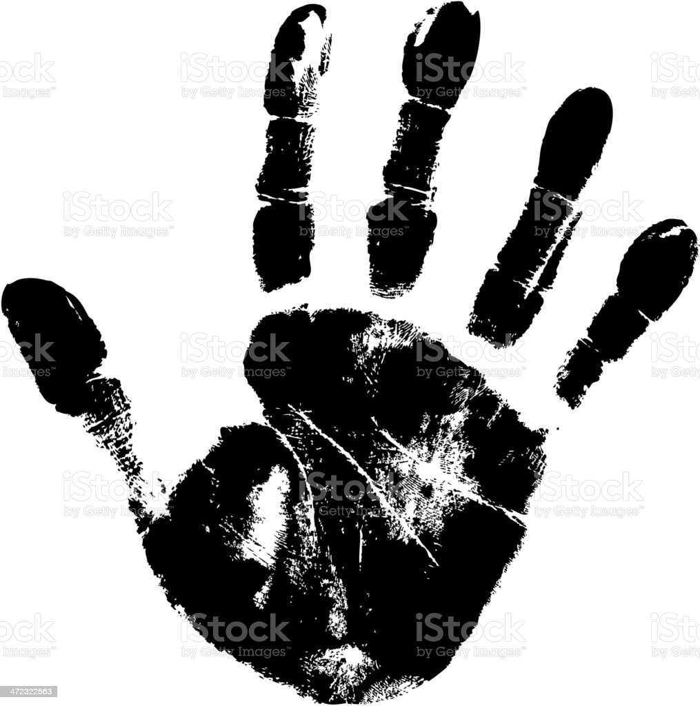 Large black handprint on white paper vector art illustration