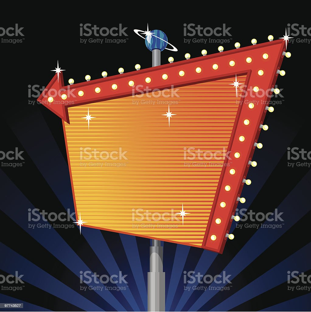 Large blank marquee sign with red arrow and lights royalty-free stock vector art
