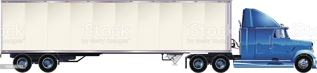 Large blue and white transporter vector art illustration