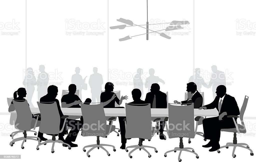 Large Boardroom Business Meeting vector art illustration
