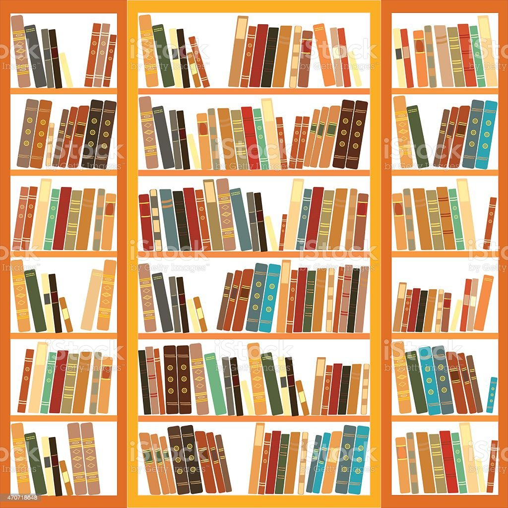 Large bookcase with different books vector art illustration