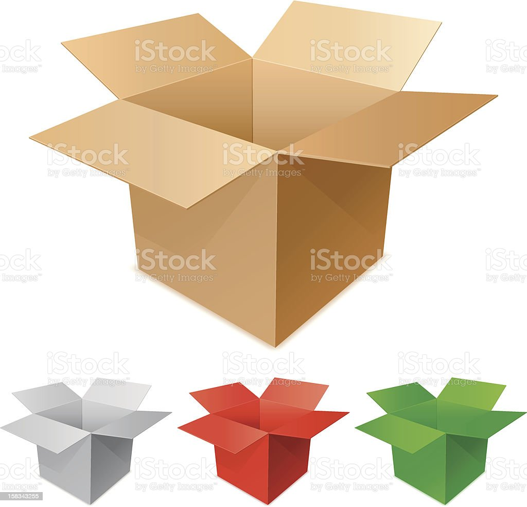 Large brown cardboard box graphic & smaller colored boxes vector art illustration