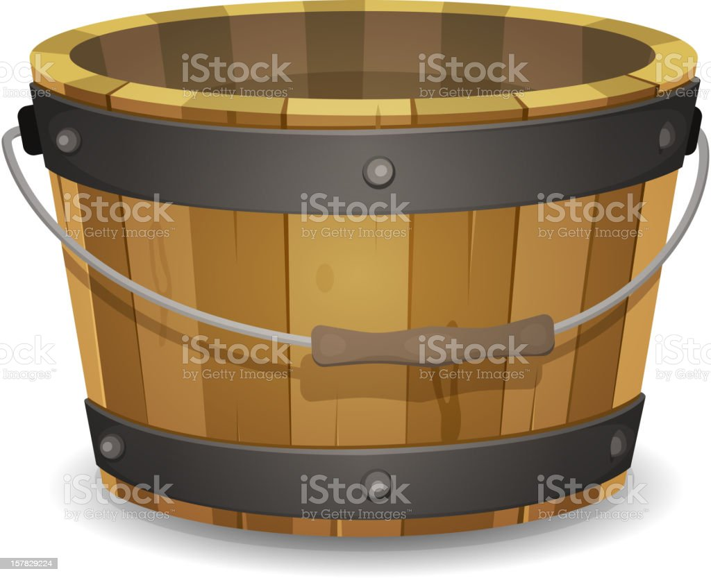 Large brown wooden bucket with a handle vector art illustration