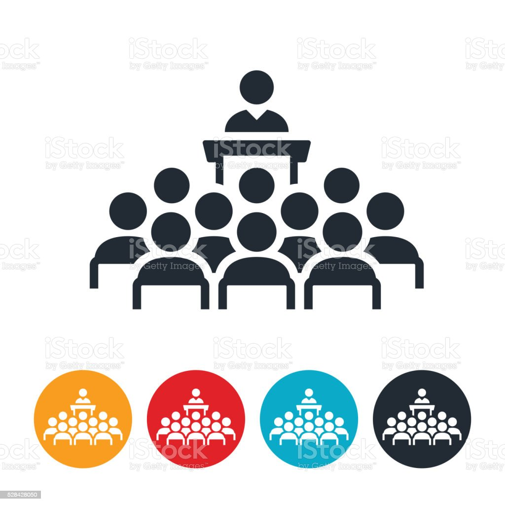 Large Business Group Meeting Icon vector art illustration