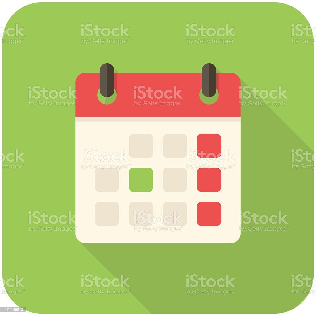 A large calendar icon on a green background vector art illustration