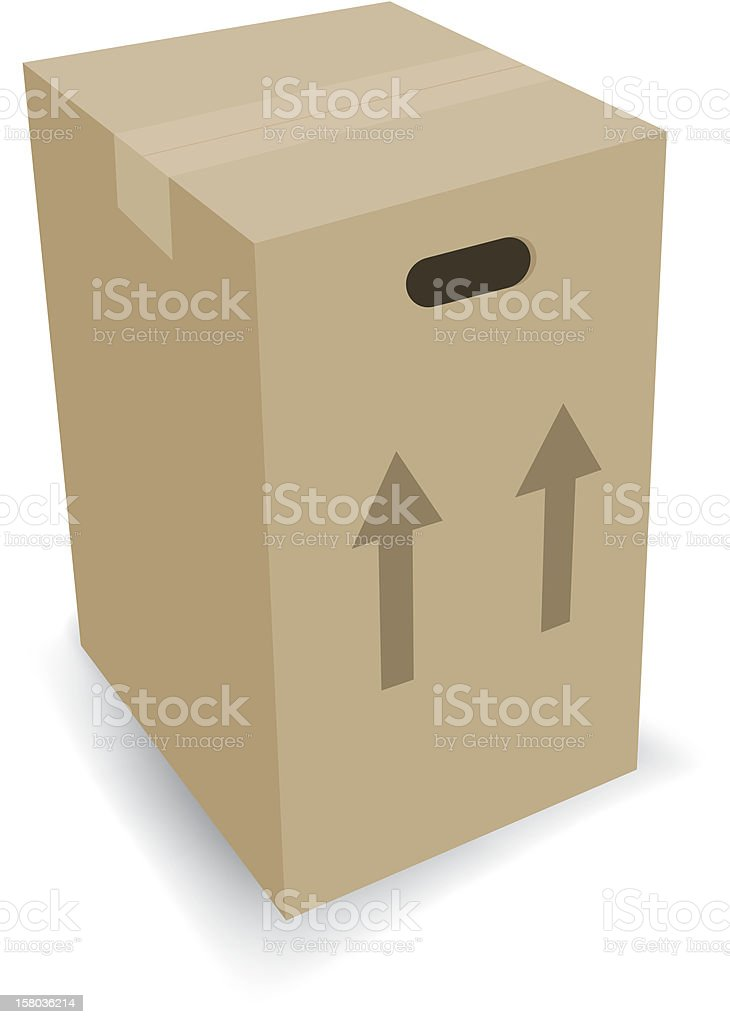 Large Cardboard Moving Box vector art illustration
