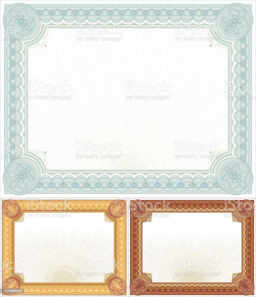 Large Certificate - Diploma Set royalty-free stock vector art