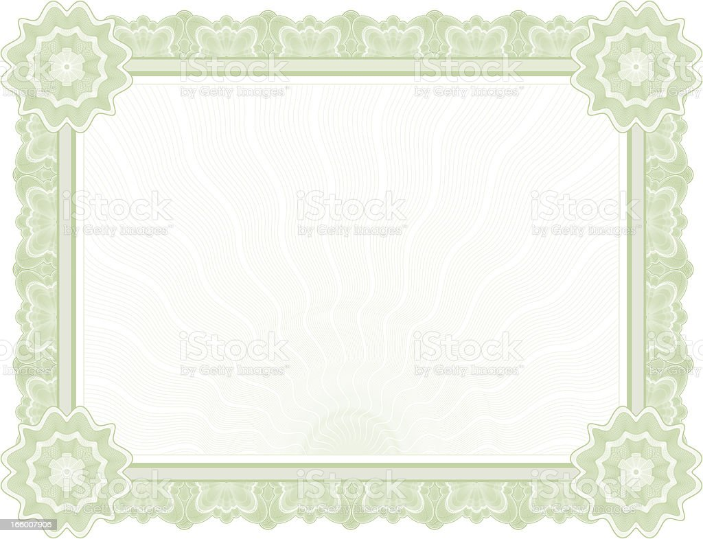 Large Certificate - Diploma (GREEN VARIANT) royalty-free stock vector art