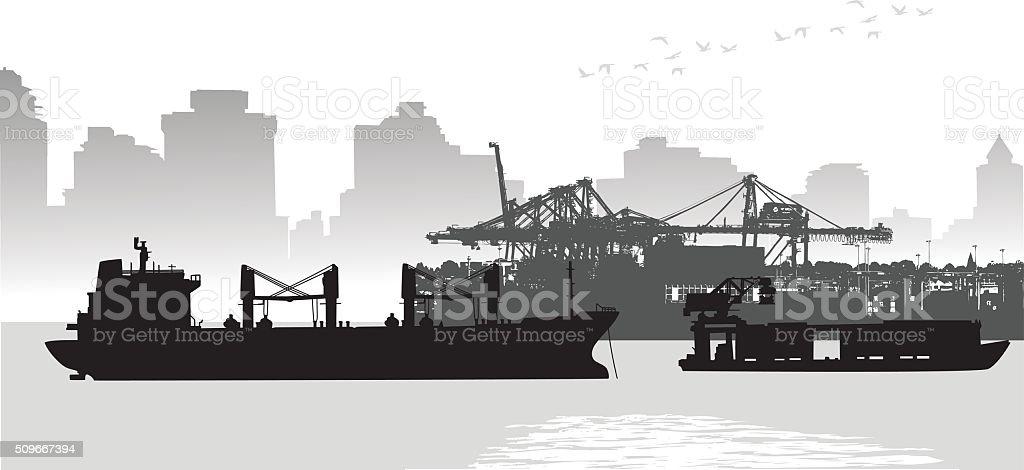 Large City Port Freighter vector art illustration